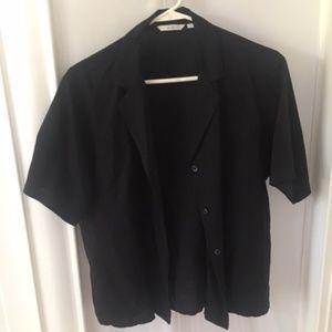 Staple Uniqlo Linen / Rayon Black Top